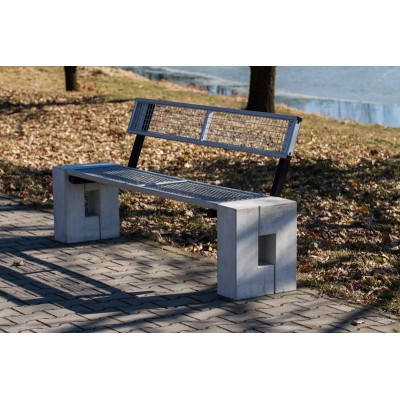 Ławka uliczna betonowa z metalowym siedziskiem Ro-solid