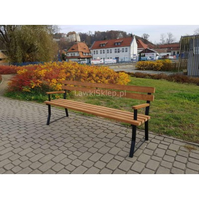 ławka stalowo drewniana