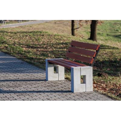 ławka drewniano betonowa
